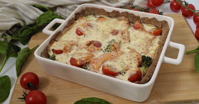Tarta z łososiem i brokułami